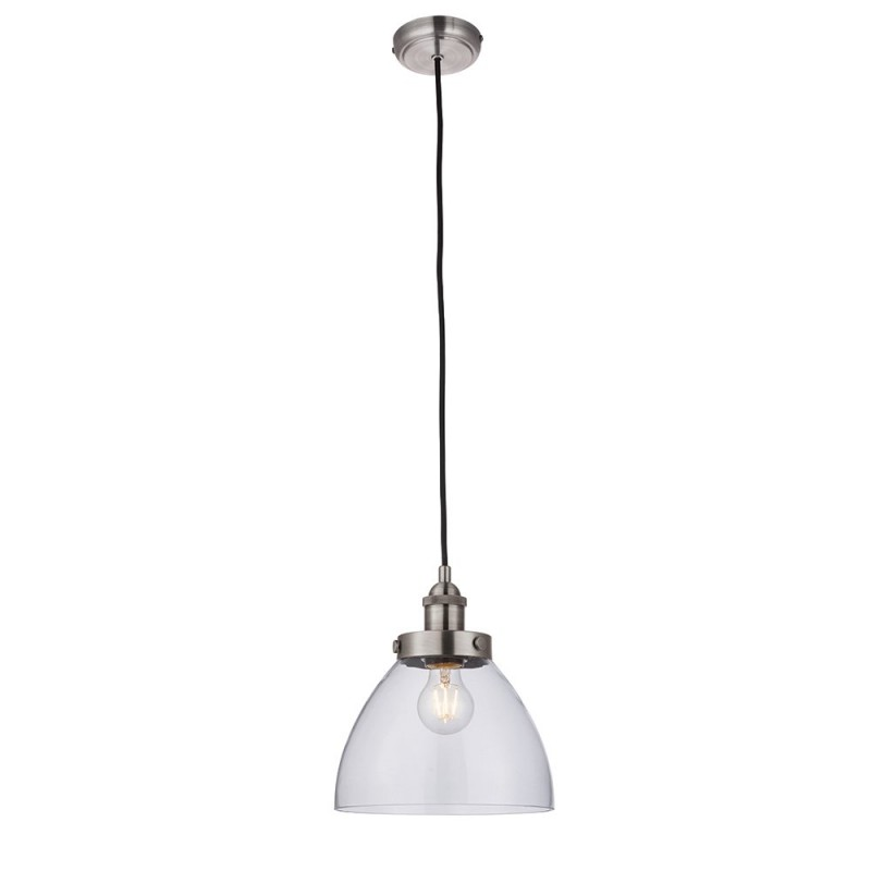 Endon-91738 - Hansen - Brushed Silver with Clear Glass Single Pendant