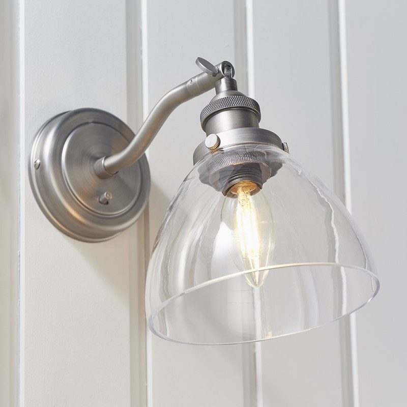 Endon-91739 - Hansen - Brushed Silver with Clear Glass Wall Lamp