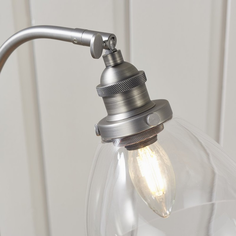 Endon-91740 - Hansen - Brushed Silver with Clear Glass Table Lamp