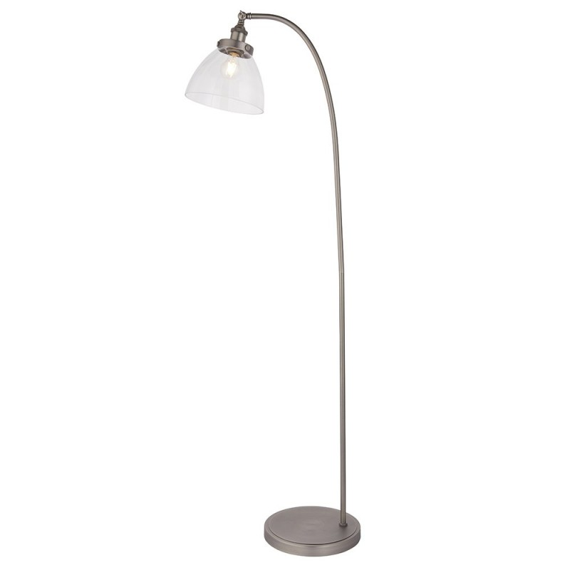 Endon-91741 - Hansen - Brushed Silver with Clear Glass Floor Lamp