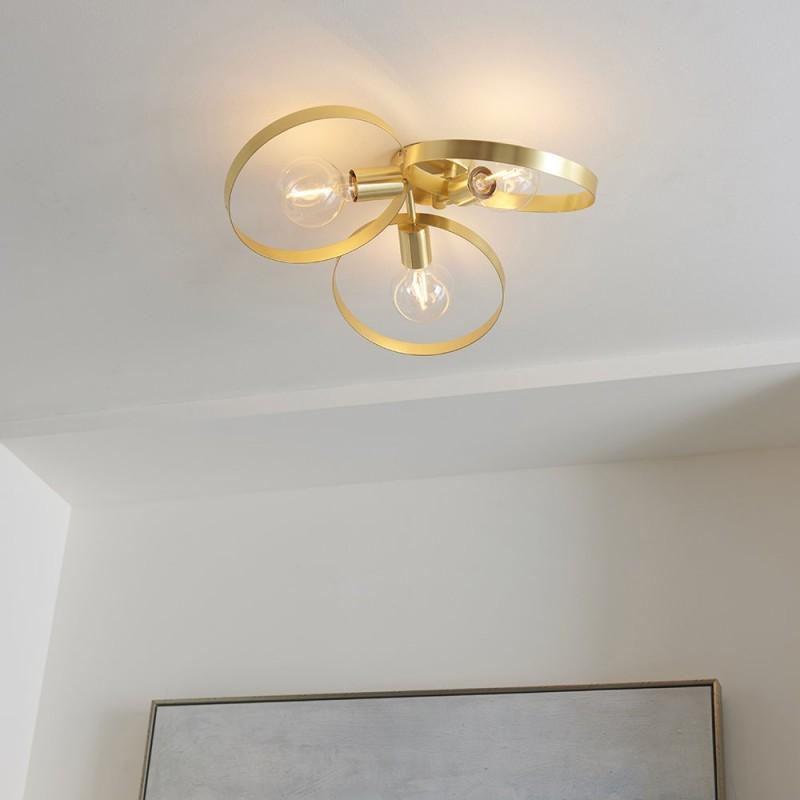 Endon-91933 - Hoop - Brushed Gold 3 Light Semi-Flush
