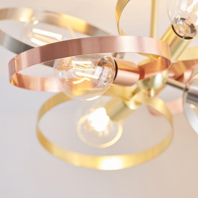 Endon-91935 - Hoop - Brushed Gold, Nickel, Copper 6 Light Semi-Flush