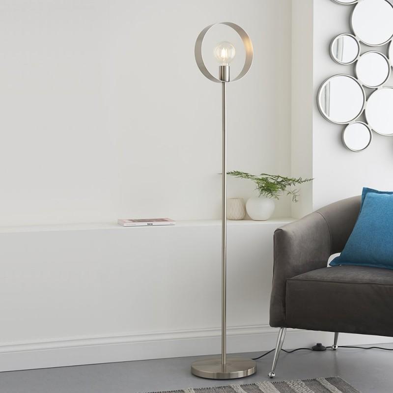 Endon-91937 - Hoop - Brushed Nickel 1 Light Floor Lamp