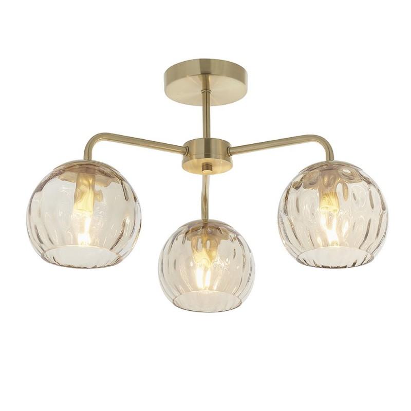 Endon-91968 - Dimple - Amber Glass & Brushed Gold 3 Light Semi-Flush