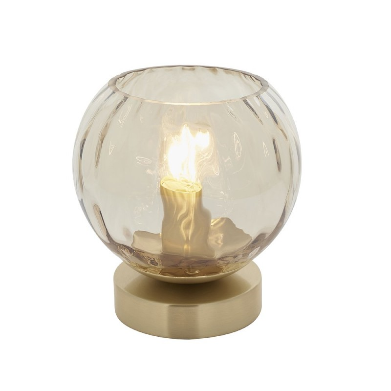 Endon-91973 - Dimple - Amber Glass & Brushed Gold Table Lamp