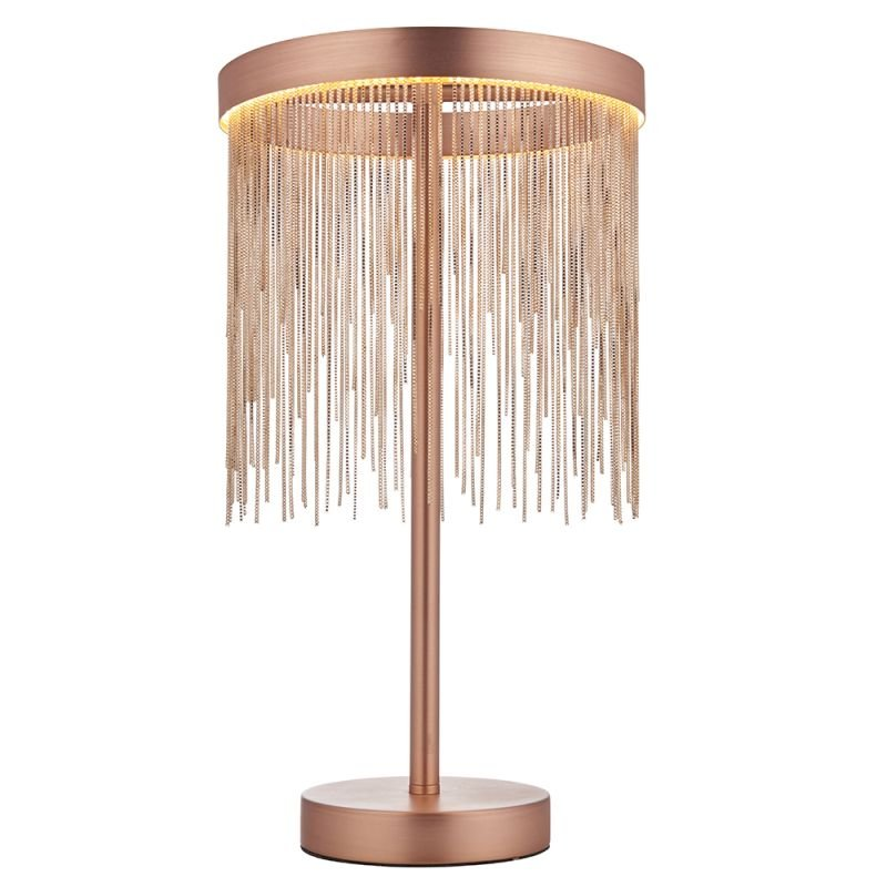 Endon-92179 - Zelma - LED Brushed Copper Ring & Delicate Chains Table Lamp