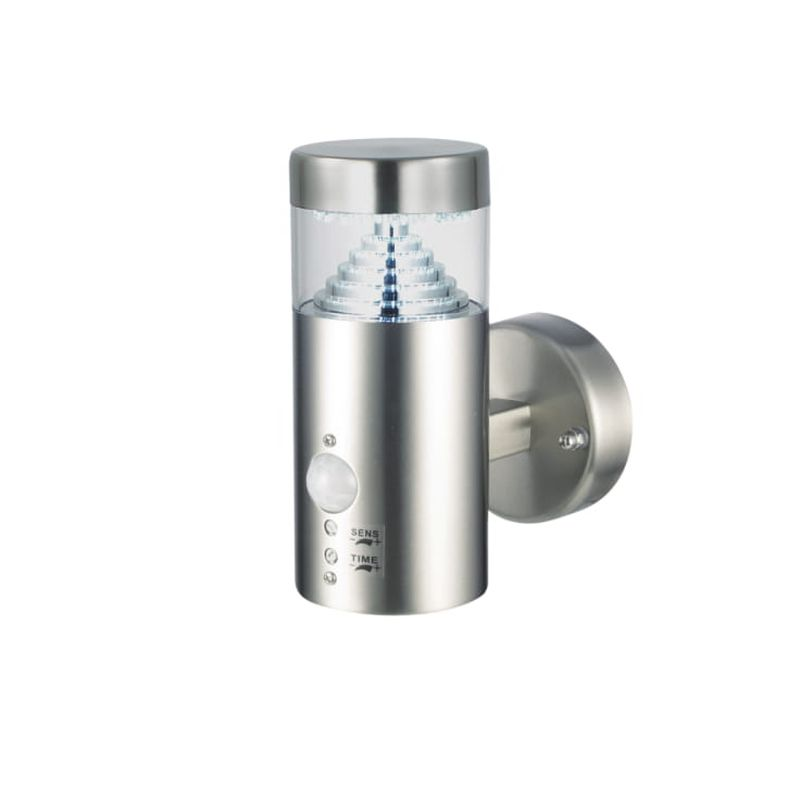Saxby-92533 - Pyramid - LED Brushed Stainless Steel PIR Wall Lamp