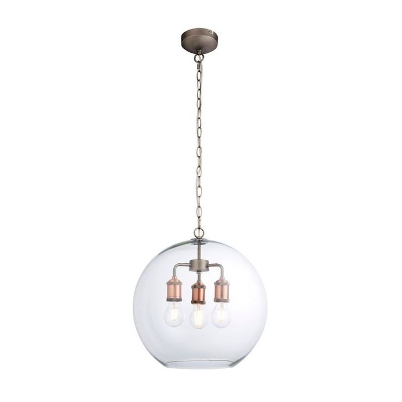 Endon-92988 - Hal - Aged Pewter & Copper with Clear Glass Pendant