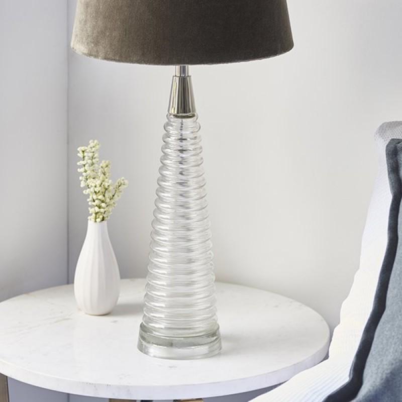 Endon-93113 - Naia - Mocca Velvet & Clear Glass Table Lamp