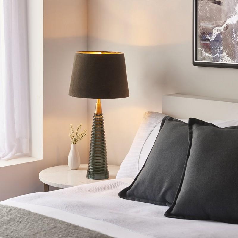 Endon-93114 - Naia - Mocca Velvet & Teal Glass Table Lamp