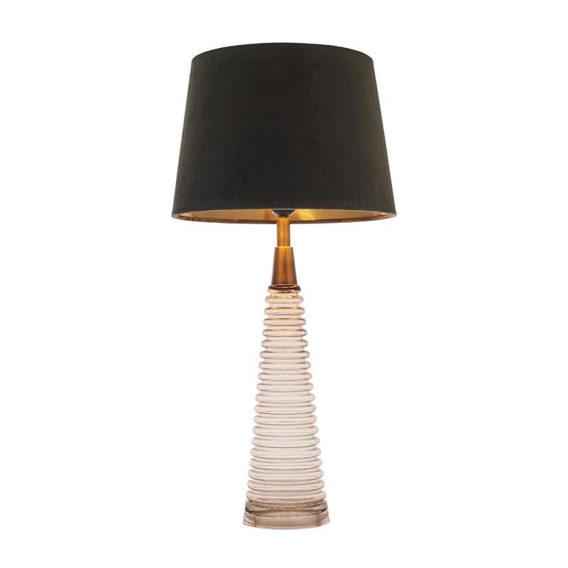 Endon-93115 - Naia - Mocca Velvet & Rose Pink Glass Table Lamp