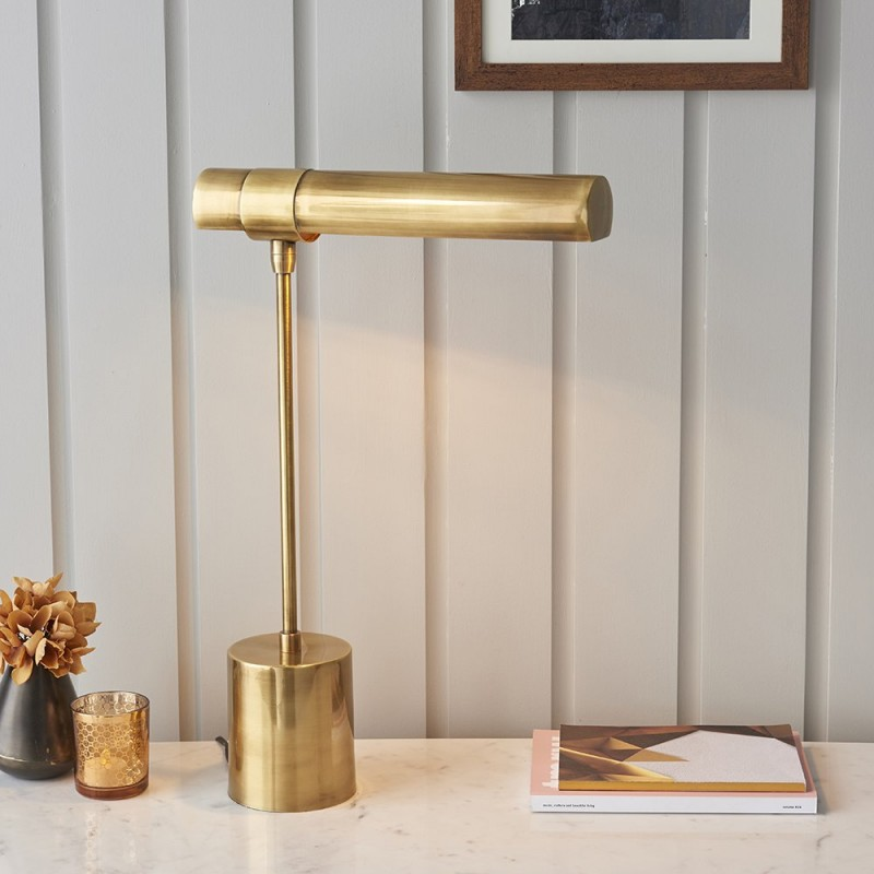 Endon-93140 - Hiero - High Quality Antique Brass Desk Lamp
