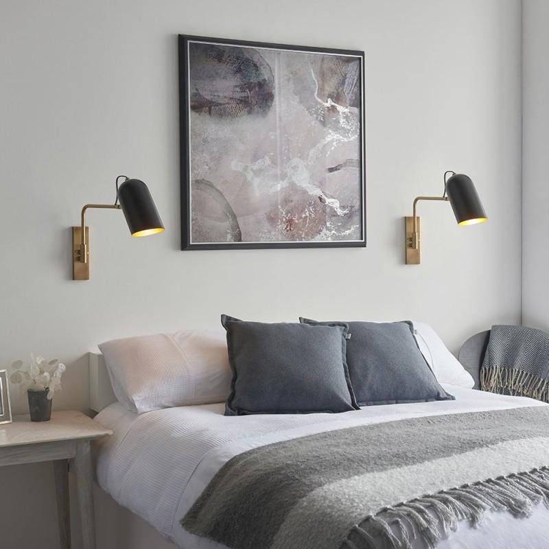 Endon-93145 - Navren - Black with Antique Brass Swing Arm Wall Lamp