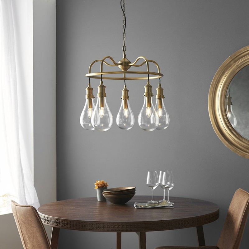 Endon-93152 - Hadassa - Clear Pear Glass & Antique Brass Centre Fitting