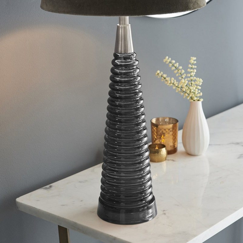 Endon-93424 - Naia - Mocca Velvet & Dark Grey Glass Table Lamp