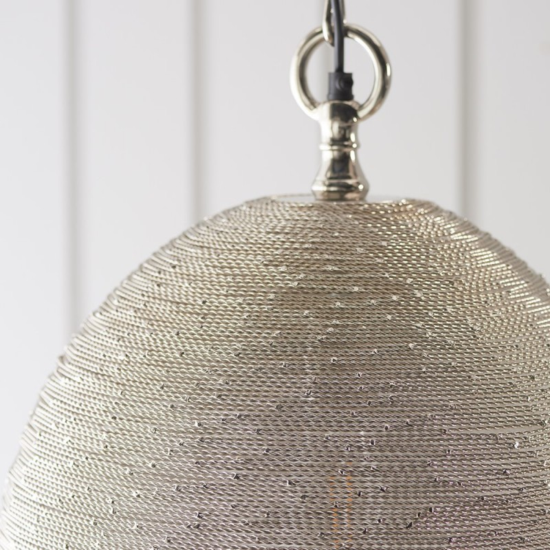 Endon-93430 - Asha - Polished Nickel Handmade Twisted Wire Pendant