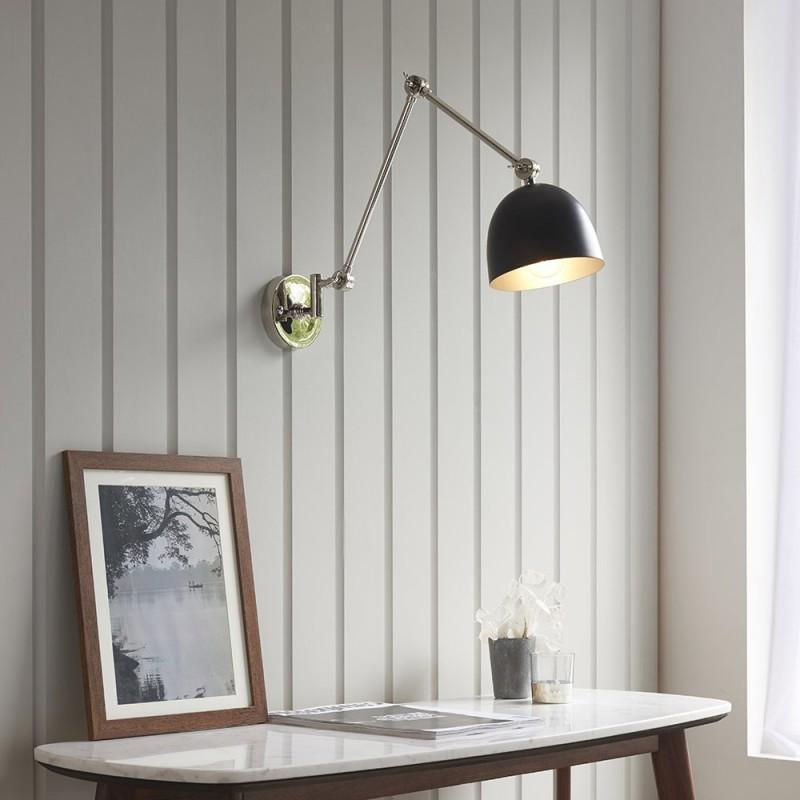 Endon-93431 - Lehal - Black & Polished Nickel Swing Arm Wall Lamp
