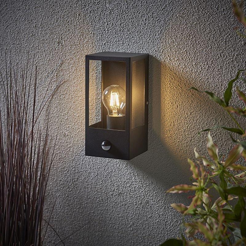 Saxby-94348 - Breton - Outdoor PIR Black Lantern Wall Lamp