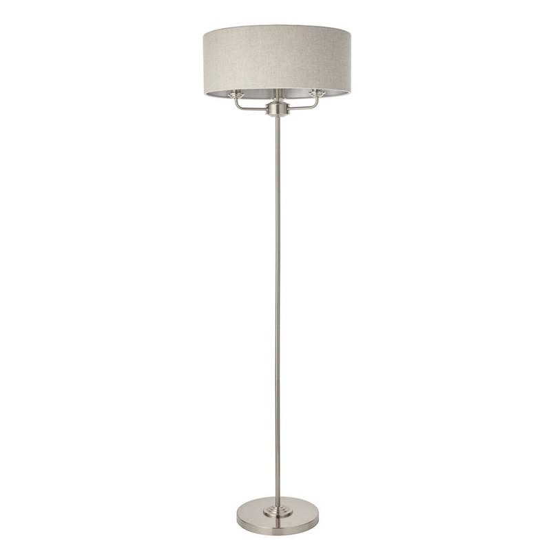 Endon-94359 - Highclere - Natural Linen & Brushed Chrome Floor Lamp