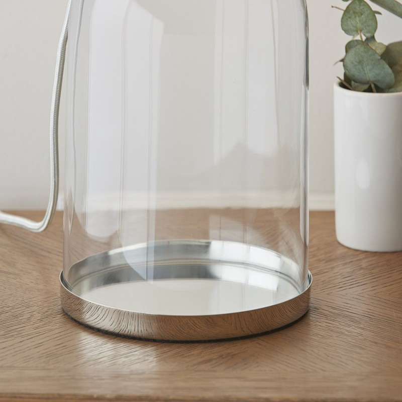 Endon-94367 - Dinton - Table Base Only - Clear Glass & Nickel