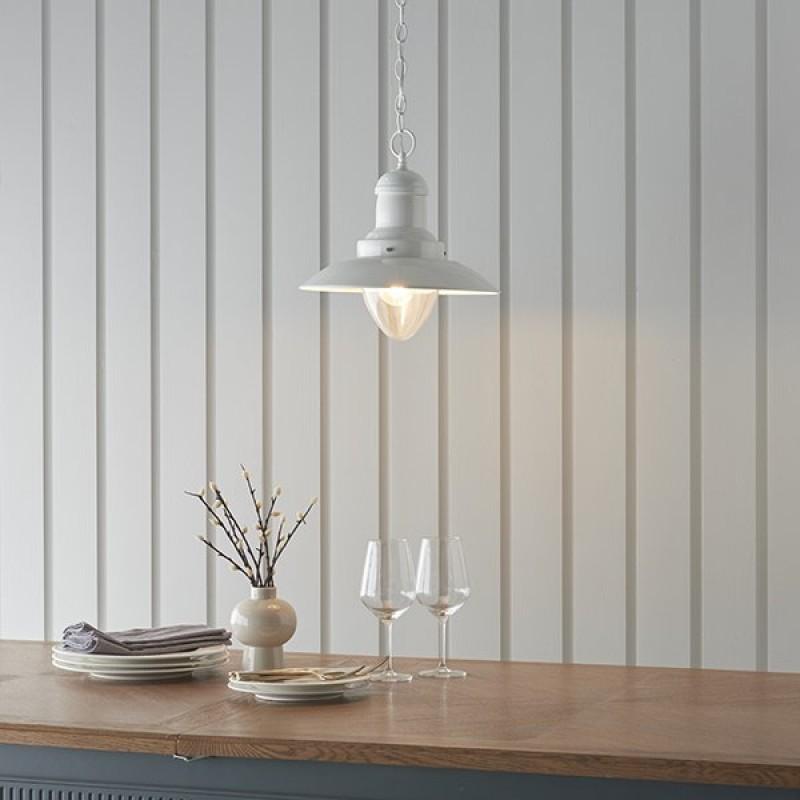 Endon-94371 - Polperro - Cream Gloss & Clear Glass Single Pendant