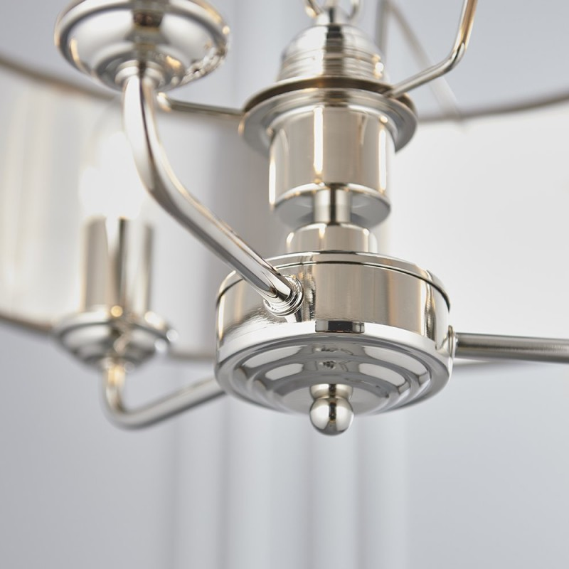 Endon-94377 - Highclere - Charcoal Linen & Bright Nickel 3 Light Pendant