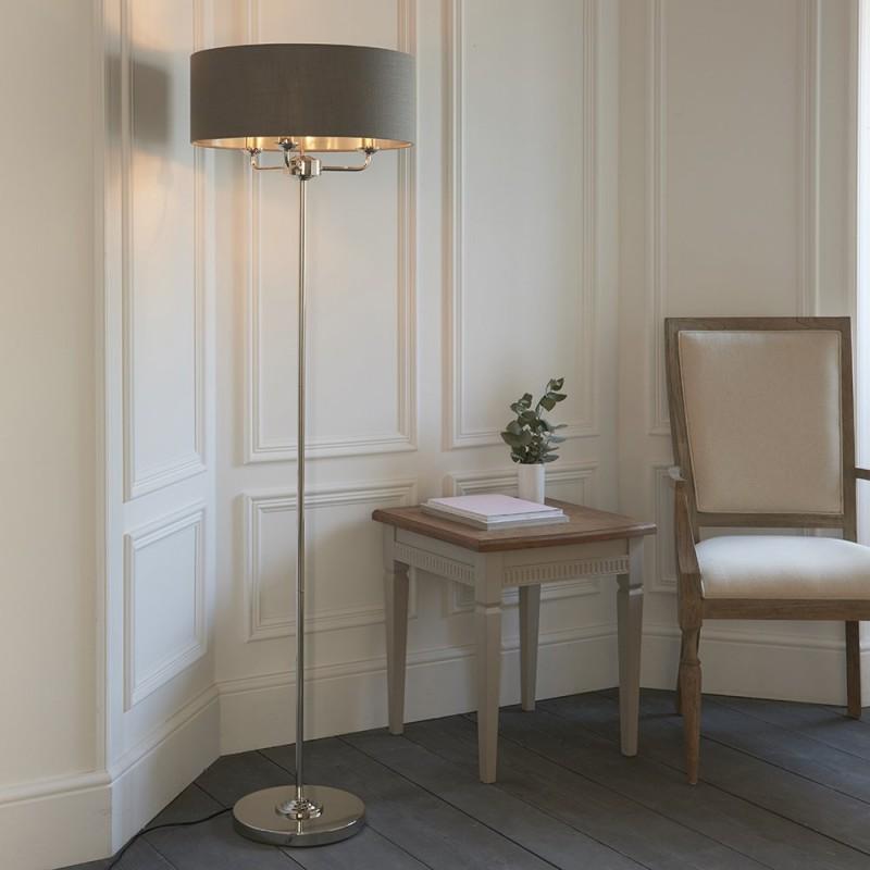 Endon-94378 - Highclere - Charcoal Linen & Bright Nickel 3 Light Floor Lamp