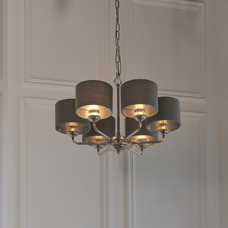 Endon-94381 - Highclere - Charcoal Linen & Bright Nickel 6 Light Centre Fitting