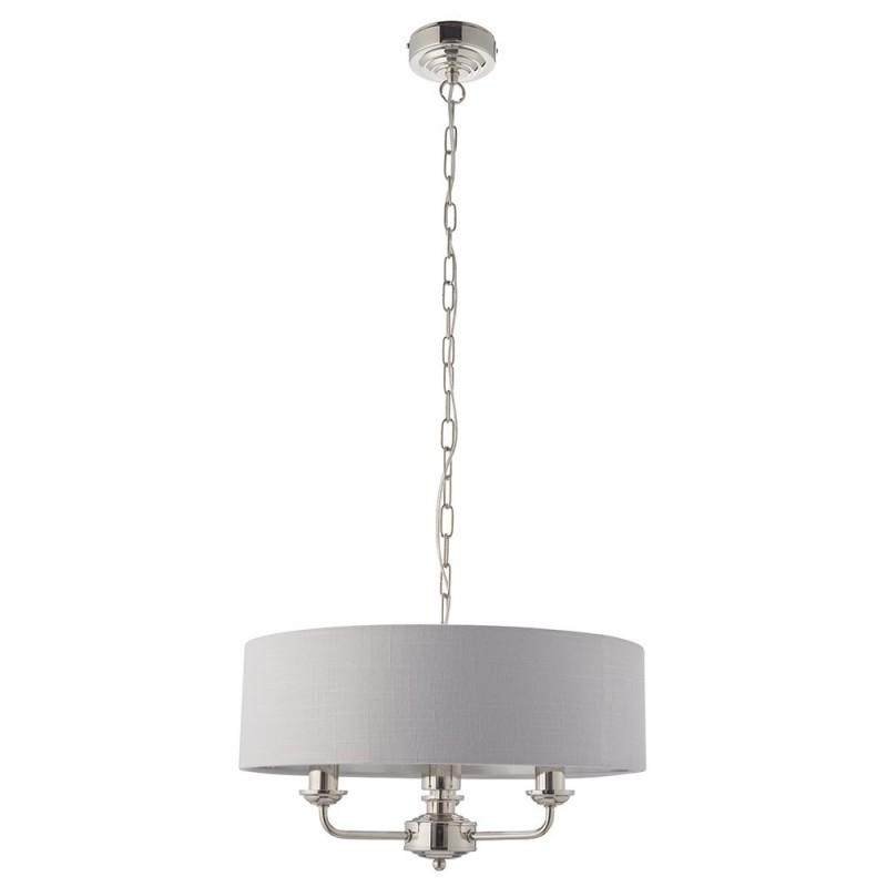 Endon-94388 - Highclere - Silver Linen & Bright Nickel 3 Light Pendant