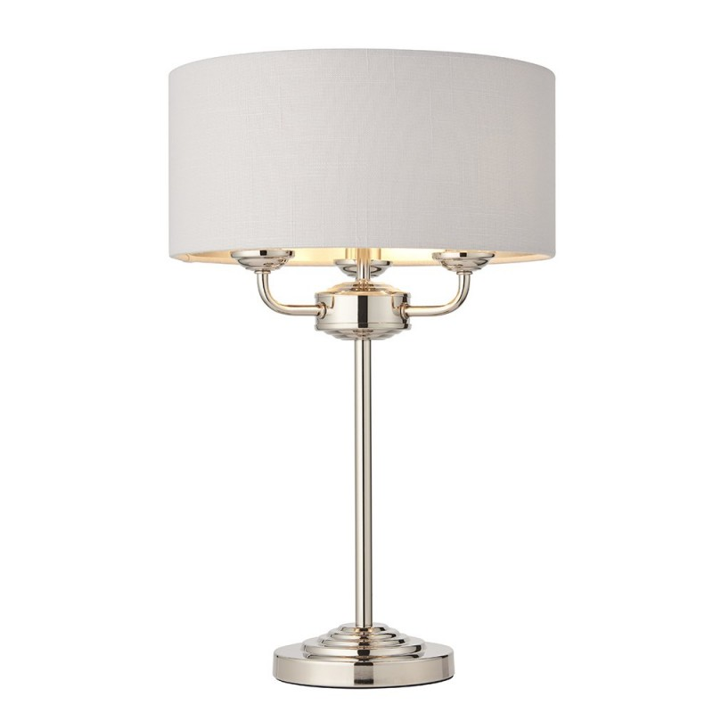 Endon-94391 - Highclere - Silver Linen & Bright Nickel 3 Light Table Lamp
