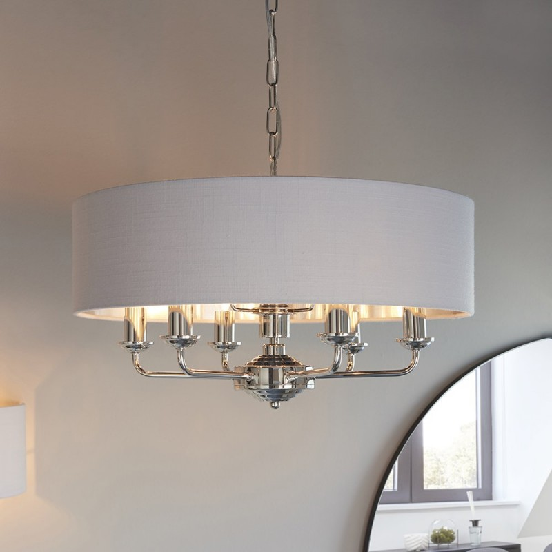 Endon-94392 - Highclere - Silver Linen & Bright Nickel 6 Light Pendant