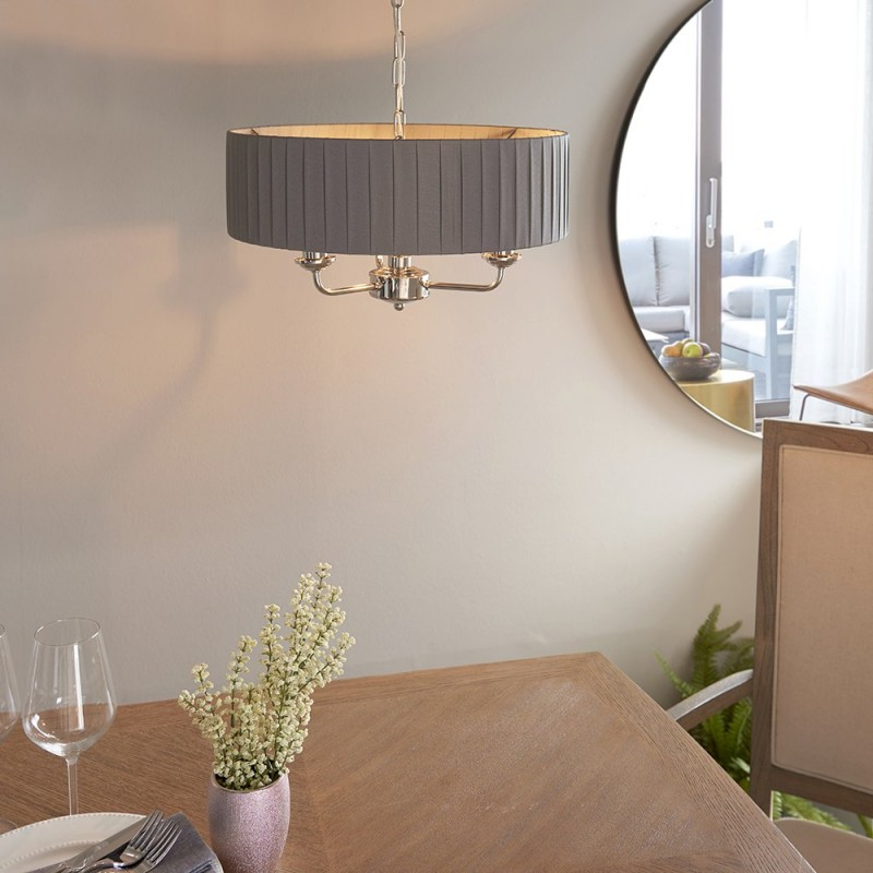 Endon-94394 - Highclere - Wrapped Charcoal & Bright Nickel 3 Light Pendant