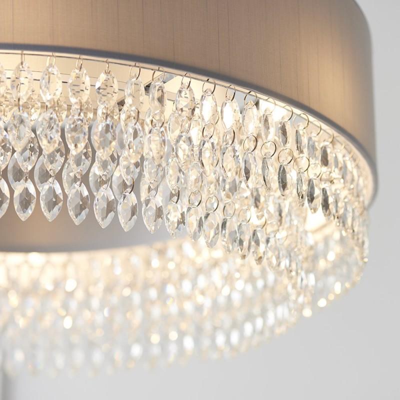 Endon-94396 - Malmesbury - Silver Grey with Crystal 6 Light Pendant