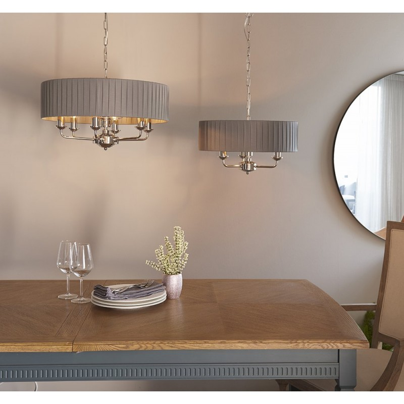 Endon-94397 - Highclere - Wrapped Charcoal & Bright Nickel 6 Light Pendant