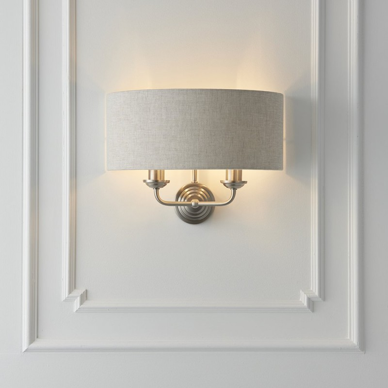 Endon-94403 - Highclere - Natural Linen & Brushed Chrome Twin Wall Lamp