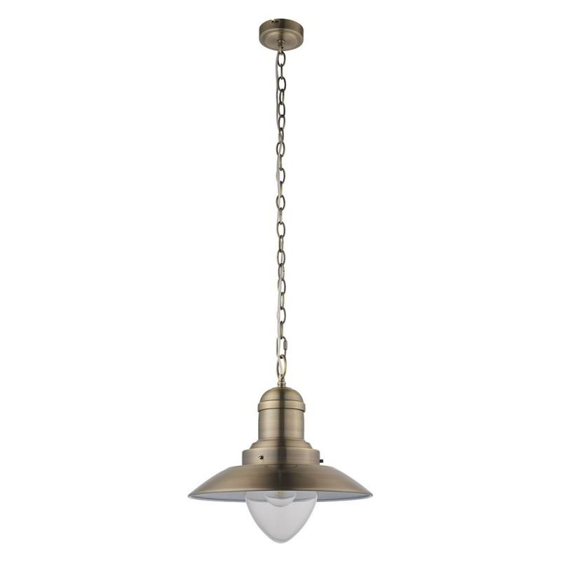 Endon-94405 - Polerro - Antique Brass & Clear Glass Single Pendant