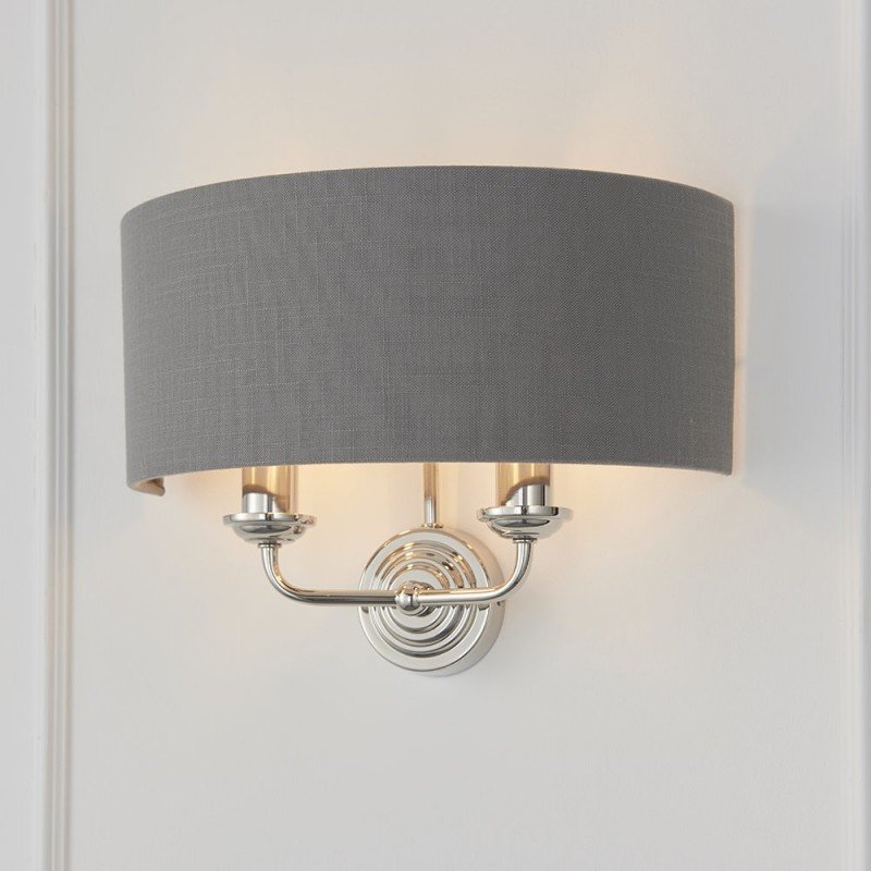 Endon-94406 - Highclere - Charcoal Linen & Bright Nickel Twin Wall Lamp