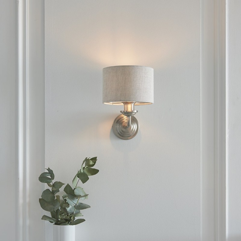 Endon-94407 - Highclere - Natural Linen & Brushed Chrome Single Wall Lamp