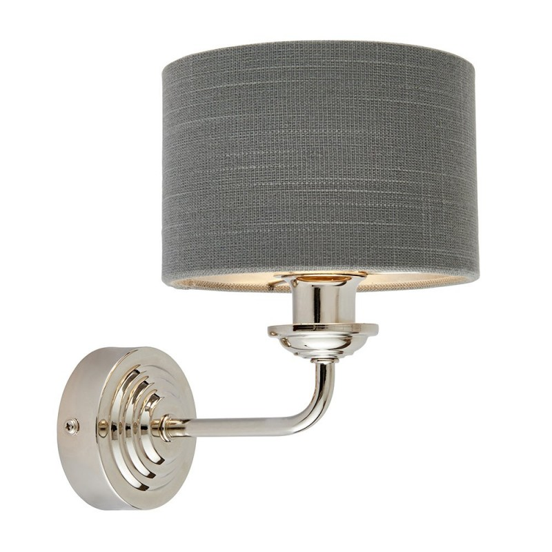 Endon-94408 - Highclere - Charcoal Linen & Bright Nickel Single Wall Lamp