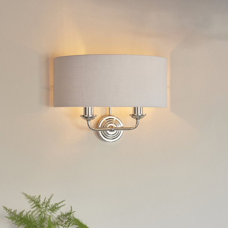 Endon-94409 - Highclere - Silver Linen & Bright Nickel Twin Wall Lamp