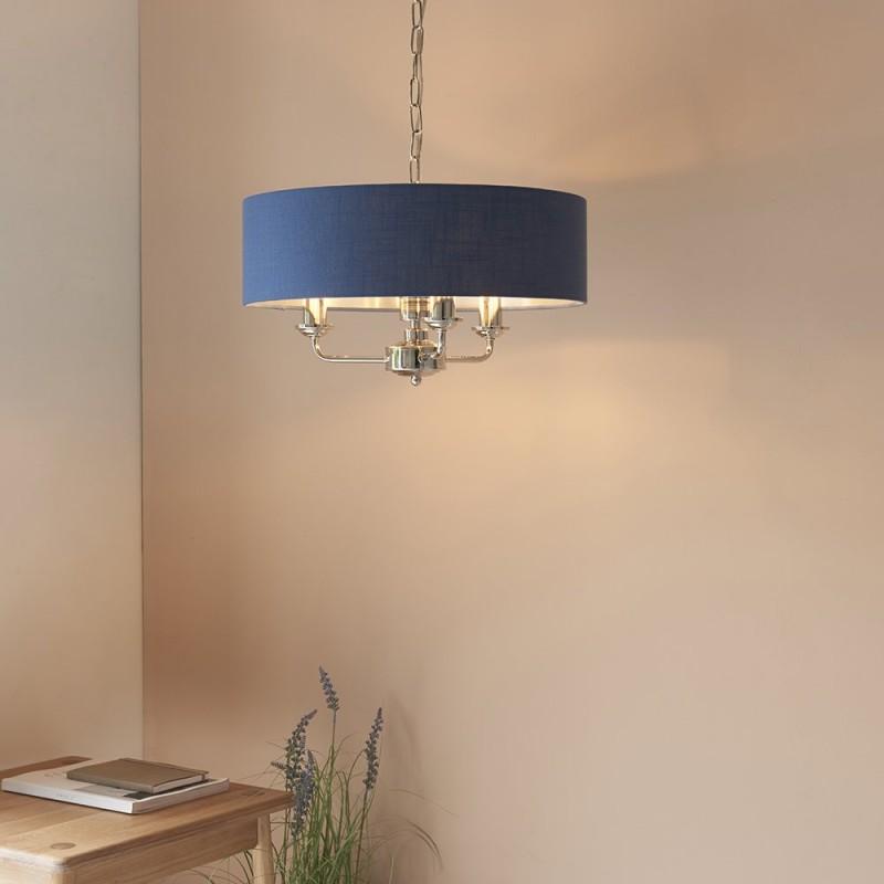 Endon-94414 - Highclere - Blue Linen & Bright Nickel 3 Light Pendant