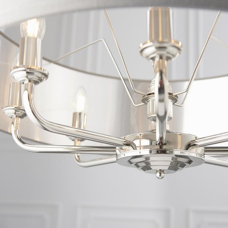 Endon-94415 - Highclere - Charcoal Linen & Bright Nickel 8 Light Pendant