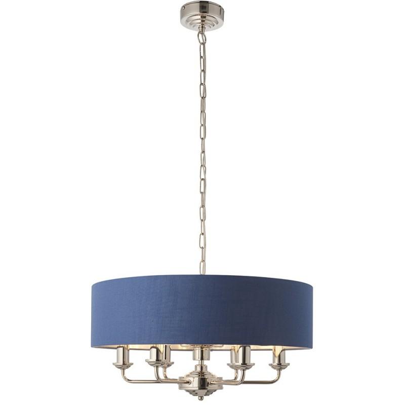 Endon-94416 - Highclere - Blue Linen & Bright Nickel 6 Light Pendant