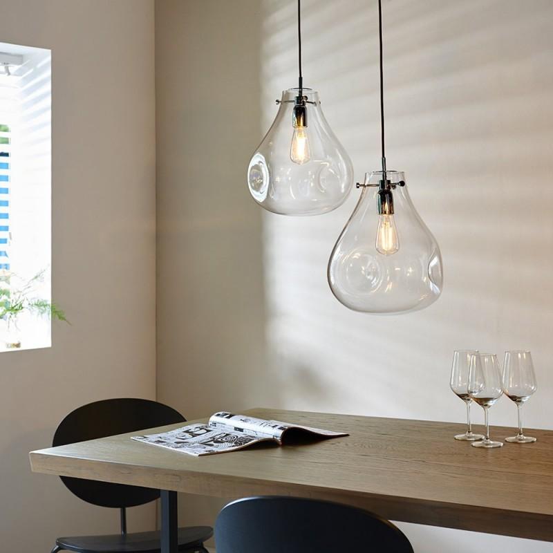 Endon-94521 - Utopia - Clear Dimpled Glass & Chrome Single Pendant