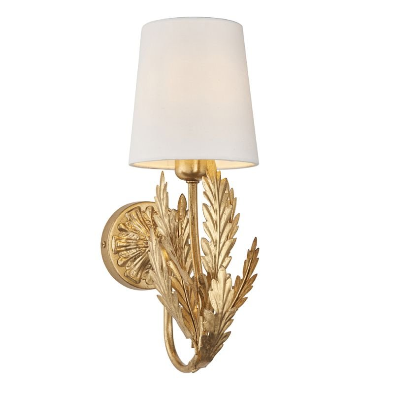 Endon-95040 - Delphine - Ivory Shade & Bright Gold Painted Floral Wall Lamp