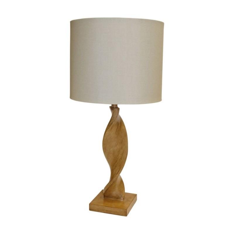 Endon-95455 - Abia - Natural Linen & Light Wood Table Lamp