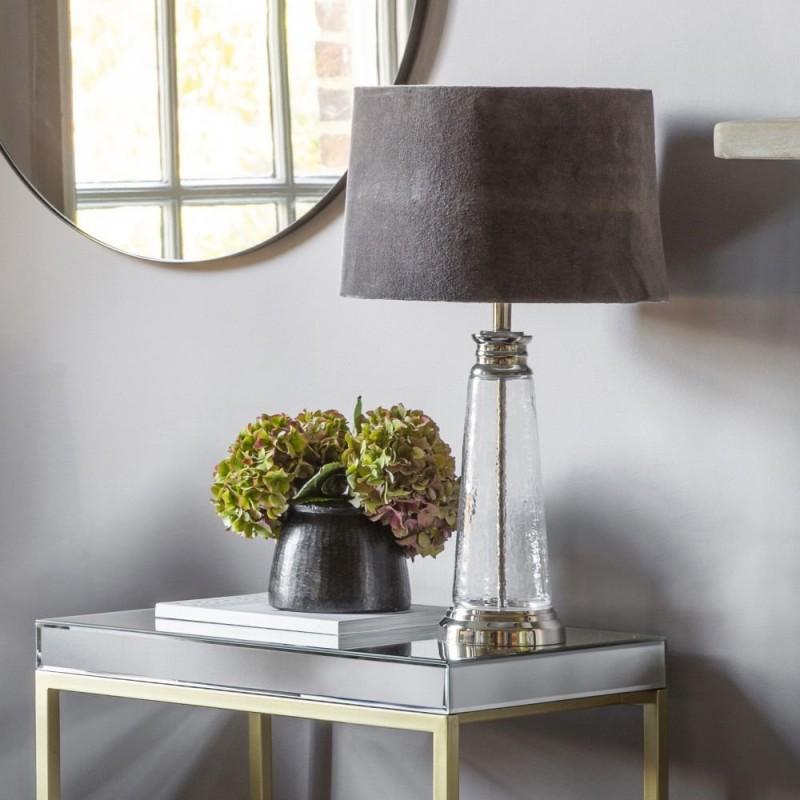 Endon-95463 - Winslet - Grey Velvet & Clear Glass Table Lamp
