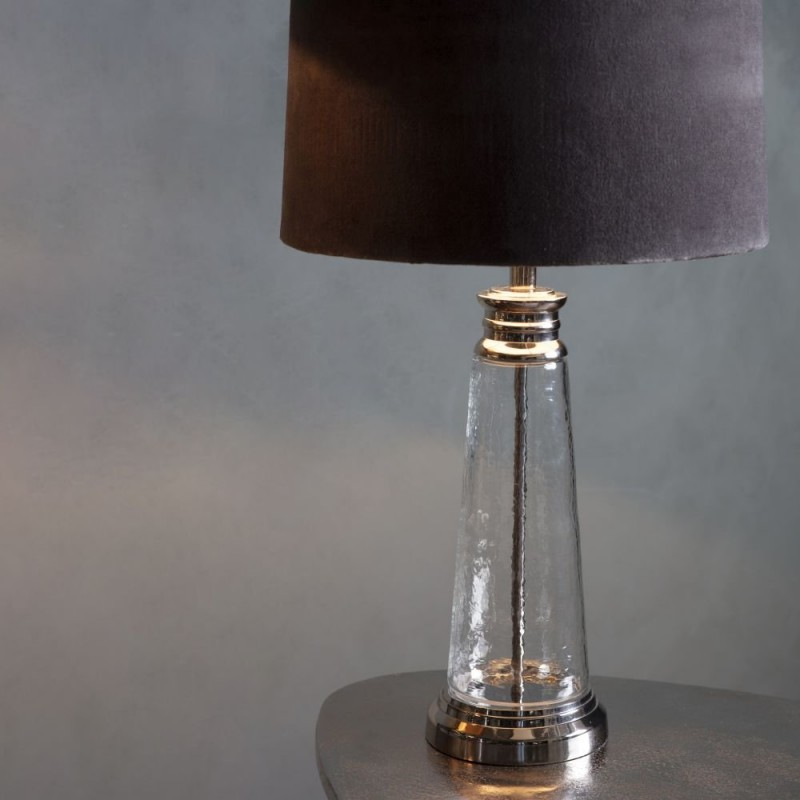 Endon-95463 - Winslet - Grey Velvet & Clear Glass Table Lamp