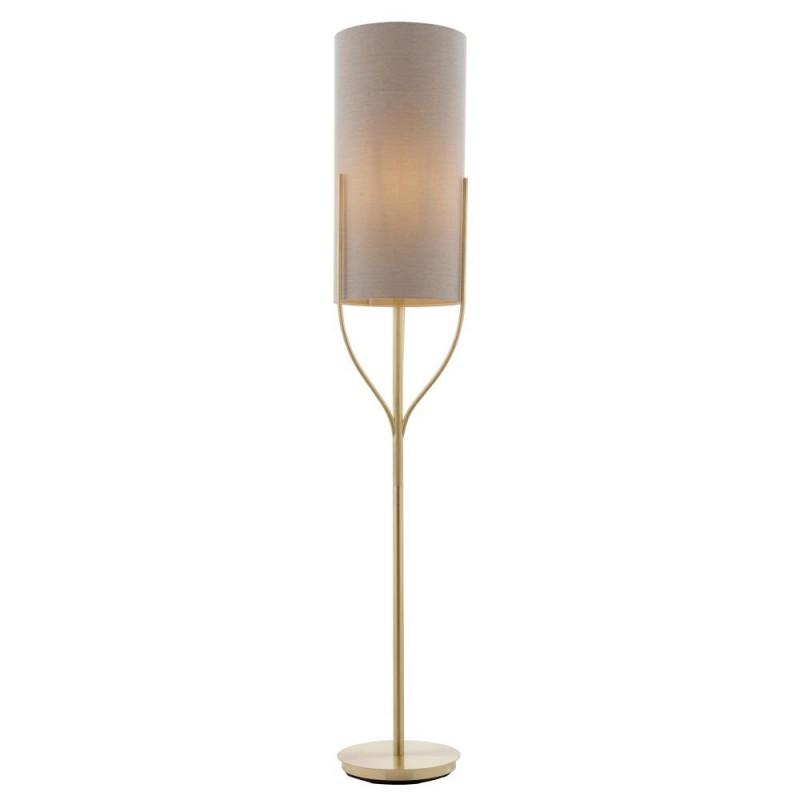Endon-95466 - Fraser - Natural Linen & Brushed Brass Floor Lamp