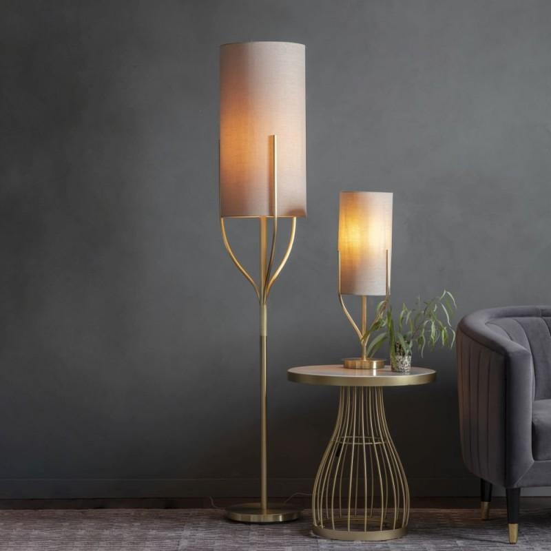 Endon-95467 - Fraser - Natural Linen & Brushed Brass Table Lamp